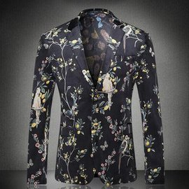 Slim Fit Party Blazer Masculino Phantasie Floral