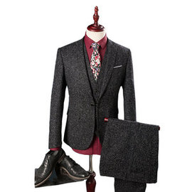 Jacke + Hose + Weste Blazer Kleid Slim Fit Anzüge Business Formale