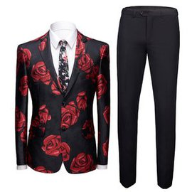 Smoking Fashion Floral Prom Anzüge Rose Slim Fit Herren