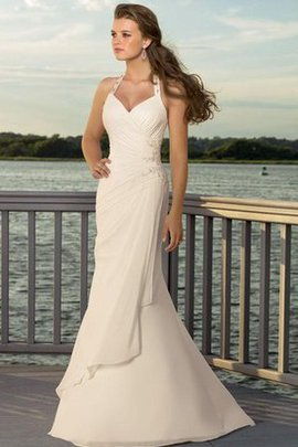 Sweep Train Nackenband Strand Elegantes Schick Brautkleid