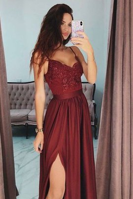 Normale Taille Seher Satin Bodenlanges Ballkleid mit Bordüre