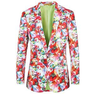 Jacke Casual Party Herren Fashion Floral Frühling