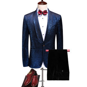 Slim Fit Anzüge Groomsmen Bräutigam Smoking Blau Kostüm Homme Kleid