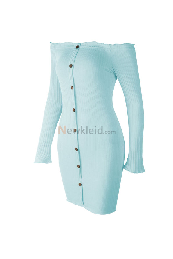 Sexy Lange Ärmel Strickjacke Leger Tunika Mode Kleid
