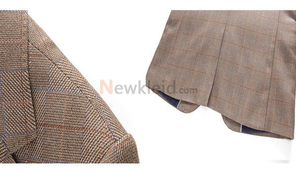 Smoking Plaid Anzüge Blazer Tweed Slim Fit Hochzeit Anzüge